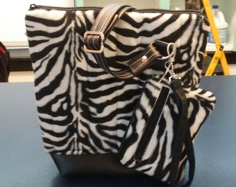 Handmade Zebra Print Upholstery Vinyl Adjustable Strap Cross body Bag