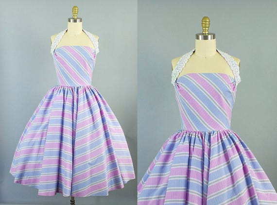 1950s cotton striped halter dress/ 50s pink and purple sundress/ small