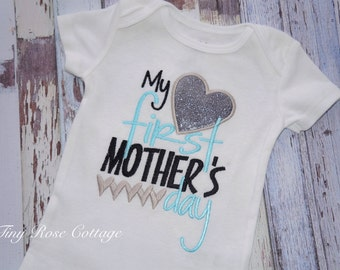 My first Mothersday for Baby Boys, Embroidered Bodysuit