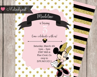 Pink and Gold Minnie Mouse Birthday Print and Party!