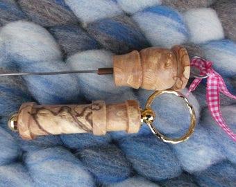 WPI Gauge keyring & matching Hook Threader (wraps per inch) handturned Beech