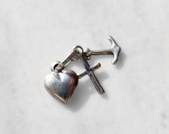 Vintage 925 Sterling Silver Faith, Hope & Charity Charm