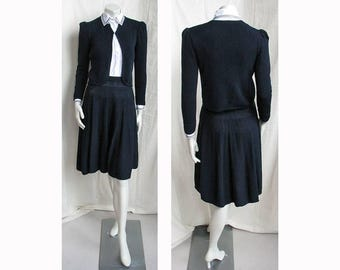 Vintage 1970s St. John Suit Navy Knit Jacket & Skirt with White Blouse