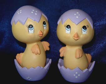 Ceramic Easter Chicks in Purple - Pair of Ceramic Chicks - Easter Decorations - Easter Ceramics - Ceramics for Easter