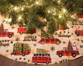 Christmas Tree Skirt-Camper-Truck-VW Beetle-Dog-Christmas Tree-Holiday Decoration-Snowman-Snowflake-Camping-Happy Holidays