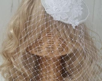 classic lace bridal head piece satin pearl beads