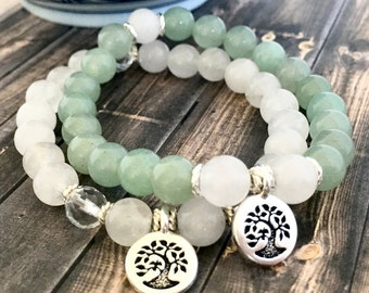 Tree of Life Snow Jade Crystal Quartz Green Aventurine Healing Bracelet Stack, Wellness Bracelet, Yoga Bracelet, Gifts for Her,