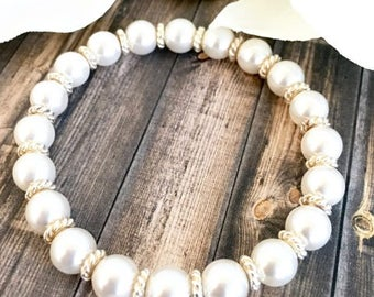 White Swarovski Pearl Silver Bracelet,Pearl Bracelet, Bridal Jewelry, Bridesmaid Gifts, Gifts for Her, Elegant Pearl Bracelet, Pearl Jewelry