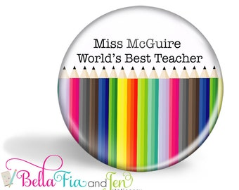 Teacher Magnet or Pocket Mirror Personalised Pencils or Crayons 5.7cm (2.25 inches)