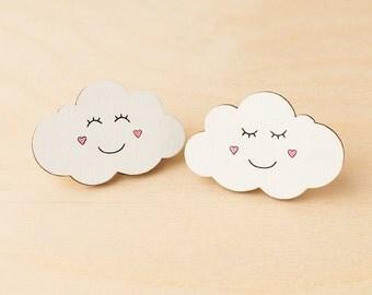 Clouds hair clips - Smiley clouds - Hair accessories - Cute hair slide - Barrettes - Hand painted - Kawaii hair clip - Kids hair clip