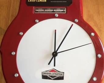 Handmade lawnmower wall clock