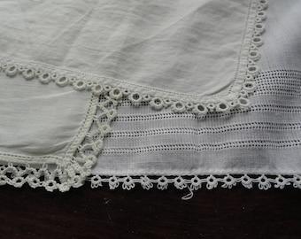 Lot of Three Vintage White Tatted Edge Handkerchiefs Shower Wedding Bridesmaid