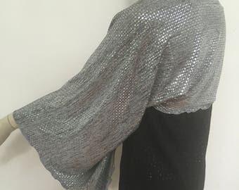Silver Sequin Shoulder Shrug. Women's Evening Scarves. Formal Wear Accessories. Sparkle Dazzle Wrap