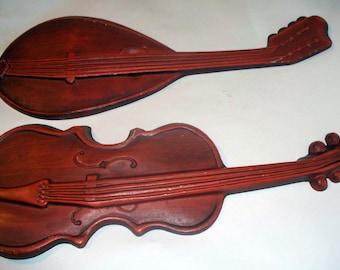 2 Vintage Royal Cast Aluminum Violin, Mandolin, Musical Instrument Wall Plaques