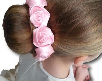 Flower Girl or Bridesmaid Bun Holder with Satin Rose Flowers
