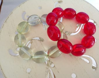 Two Big Bead Bracelets Red & Pale Green from the 1980's