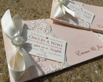 Fairytale | Luxury Lace | Embellishment | Chequebook Wedding Invitations