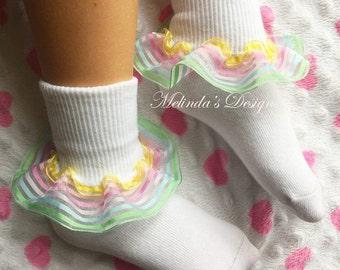 Little Girl's Socks Girl's Socks Baby Socks Frilly Socks Ruffled Socks Infant Socks Easter Socks Toddler Socks School Socks Baby Girl Gift