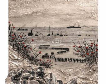Thankful For The Little Ships from the War Poppy Collection 1939-1945 by Remembrance Artist Jacqueline Hurley WW2 fine art print
