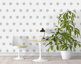 Geometric Dots Wallpaper - Modern Accent - Geometry - Wallpaper - Removable Wallpaper - Peel & Stick - Self Adhesive Fabric - SKU:GEODOT