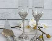 wedding cake cutters and flutes champagne glasses etsy 22313