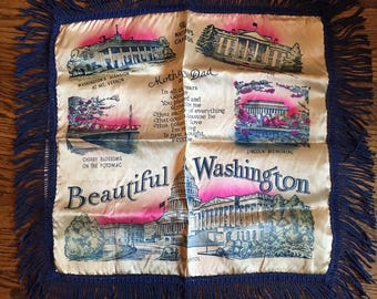 Vintage Souvenir Pillow Cover Beautiful Washington DC Mother and Dad Fringe Never Used