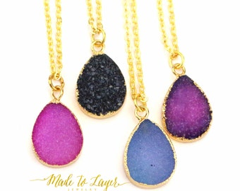 Small Druzy Drusy Geode Necklace Jewerly, Tear Drop Shape Necklace, Layering Druzy Necklace, Mini Druzy Necklace, Bridesmaid Necklace