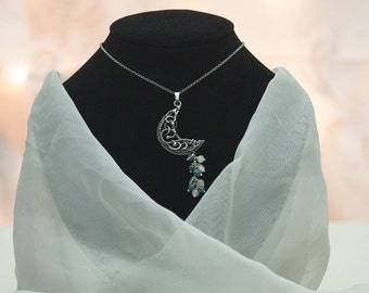 Selune - cresent moon necklace made from fine and sterling silver, moonstones and blue apatite, wire wrapping, wire wrap