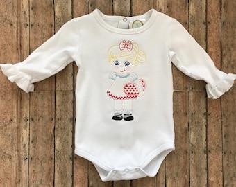 Vintage Valentine Girl Embroidered Shirt