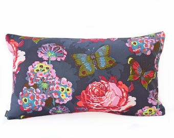 Floral Pillow Cover - Charcoal, Pink and Orange pillow - Gray pillow - Butterfly pillow - Bright floral pillow - Coral pillow - Boho Pillow