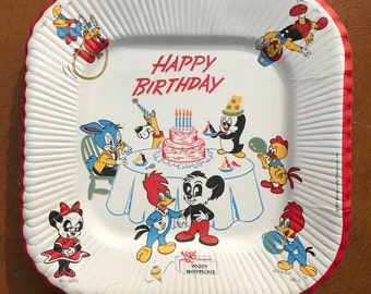 1957 Woody Woodpecker Birthday Party Plates / Square Paper Plates / Set of 8
