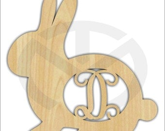 Unfinished Wood Bunny Rabbit Side View Monogram Door Hanger Laser Cutout w/ Your Initial, Home Decor, Script, Easter, Spring Decor