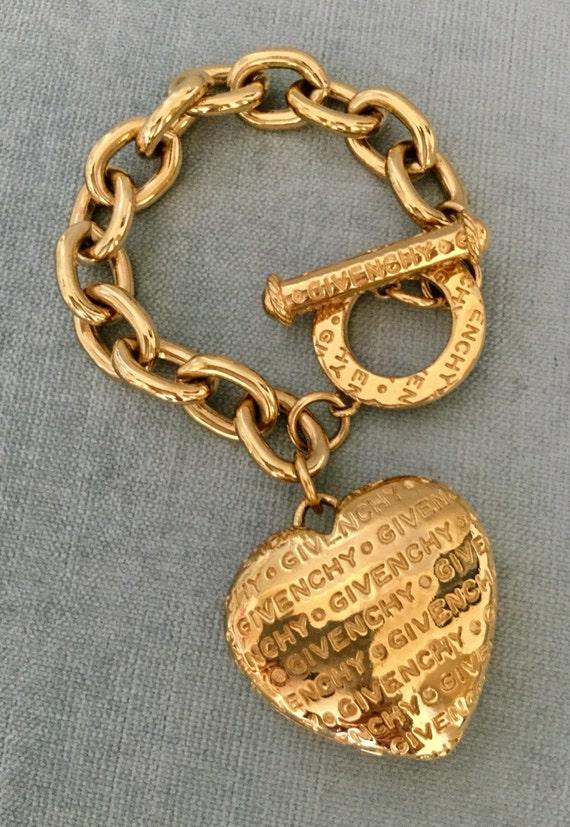 GIVENCHY Signed LOGO Huge HEART Charm Carved Gold Metal Toggle