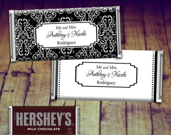 Wedding Candy Wrapper, Full Sized Candy Wrapper Wedding, Black and White Wedding Favor, Black and White Wedding, Personalized Hershey