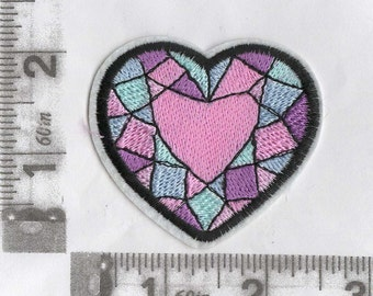 Pink, blue, purple stained glass heart iron on patch