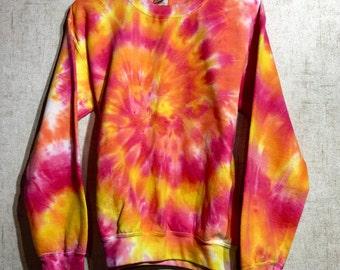 SALE Size Small Tie Dye Sweatshirt - Sunset Tie Dye Sweatshirt - Pink, Orange & Yellow Tie Dye Fleece -  Tie Dye Crew Neck Sweatshirt