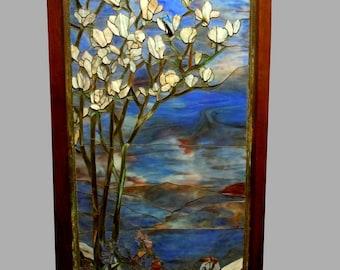 Rare Tiffany Studios New York Flowering Dogwood Stain Glass Window