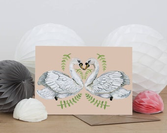Swan lovers | Illustrated Greeting Card | Greeting Card | Love Card | Anniversary | Valentine's Day | Blank Card | Swans