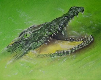 Green Crocodile oil painting
