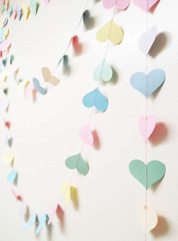 Pastel Paper Heart Garland Wedding Decoration Party Baby Shower