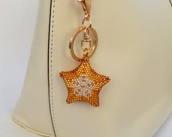 Star Bag Charm Beaded Keychain Handmade Embroidery Keychain Bag Charm key chain Accessories for car Womens gift for here
