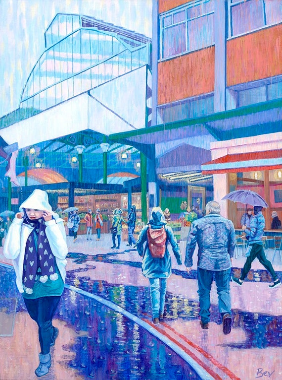 Downpour at Borough, original painting in acrylic of Borough Market in the rain
