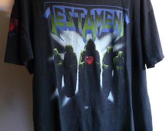 """Testament-original 1990 """"clash of the titans"""" European tour t.shirt-size XL/L"""