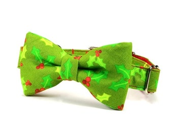 Christmas Bow Tie Dog Collar, Holly Berry Bow Tie Collar, Christmas Dog Collar, Holiday Dog Collar, Holly Bow Tie For Dog,