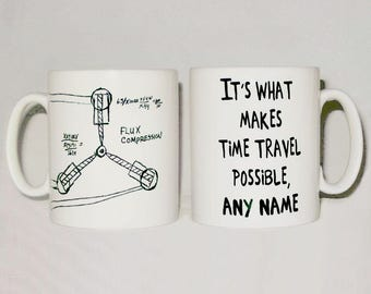 Flux Capacitor Sketch Mug PERSONALISED ANY NAME Funny Back To The Future Parody Gift