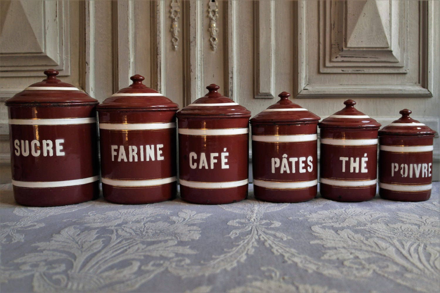 Enamel canisters tins french vintage kitchen set of 6 storage for Retro kitchen set of 6 spice tins