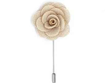 FLP1504 - FLOWER LAPEL PIN: Bone White Microfiber Rose. Wedding Boutonniere, Brooches, Lovely Lapels