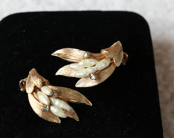 Vintage Kramer Baroque Faux Pearl  and Gold Tone Clip On Earrings