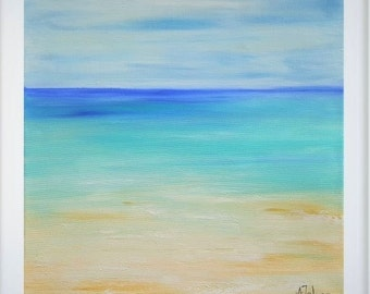 Oil painting seascape Abstract beach art Seascape painting Florida beach Caribbean blue abstract ocean painting Original art work 14x14""