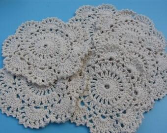 5pcs Cotton Crochet applique,12cm circle applique